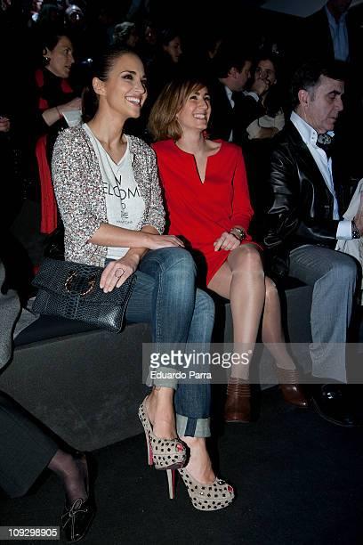 Paula Echevarria and Alejandra Martos attend the Roberto Torreta fashion show during the Cibeles Madrid Fashion Week A/W 2011 at Ifema on February 19...