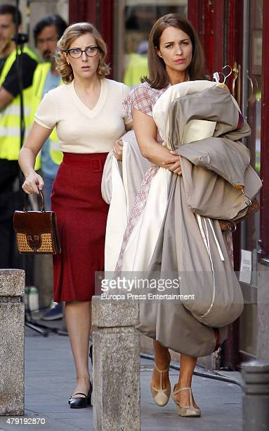 Paula Echevarria and Cecilia Freire are seen during the set filming of 'Galerias Velvet' on June 01, 2015 in Madrid, Spain.