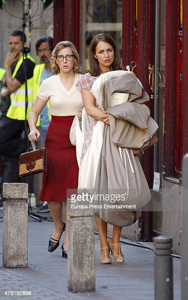 Paula Echevarria and Cecilia Freire are seen during the set filming of 'Galerias Velvet' on June 01 2015 in Madrid Spain