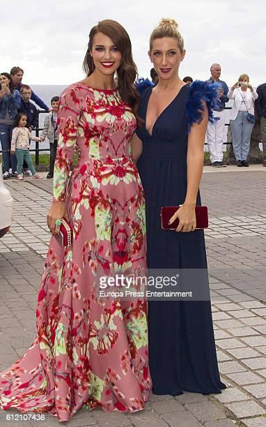 Paula Echevarria and Cecilia Freire attend the wedding ceremony of Marta Hazas and Javier Veiga at Palacio de la Magdalena on October 1 2016 in...