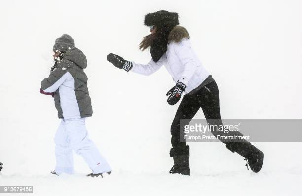 Paula Echevarria and her daughter Daniela Bustamante are seen on December 08 2017 in Baqueira Spain