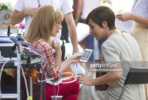Paula Echevarria and Marta Hazas are seen during the set filming of Galerias Velvet on July 12 2016 in Madrid Spain
