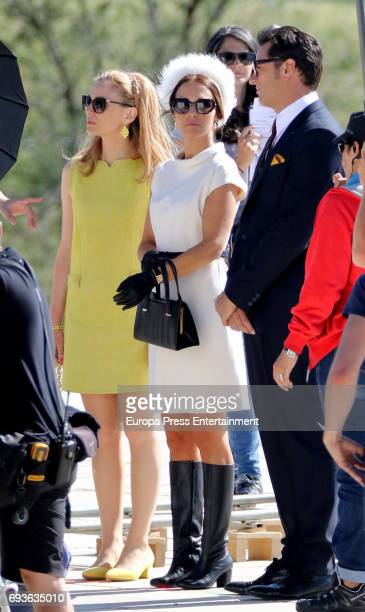 Paula Echevarria Asier Etxeandia and Marta Hazas are seen during the set filming of Galerias Velvet on May 19 2017 in Madrid Spain