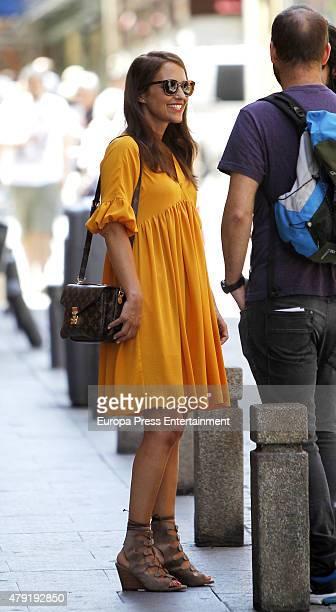 Paula Echevarria is seen during a break at the set filming of 'Galerias Velvet' on June 01, 2015 in Madrid, Spain.