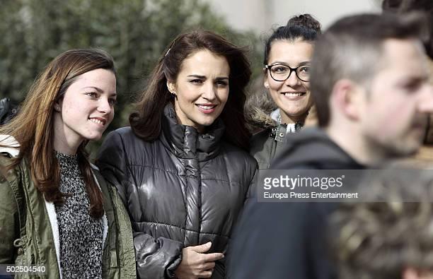 Paula Echevarria is seen during the set filming of 'Galerias Velvet' on December 14 2015 in Madrid Spain
