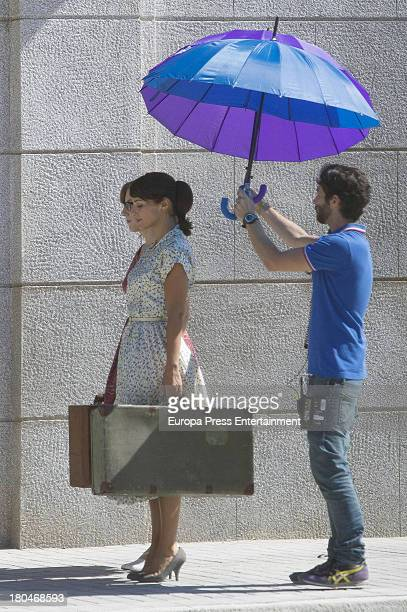 Paula Echevarria is seen on set filming 'Galerias Velvet' on September 10, 2013 in Madrid, Spain.