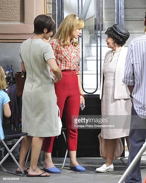 Paula Echevarria Marta Hazas and Concha Velasco are seen during the set filming of Galerias Velvet on July 12 2016 in Madrid Spain