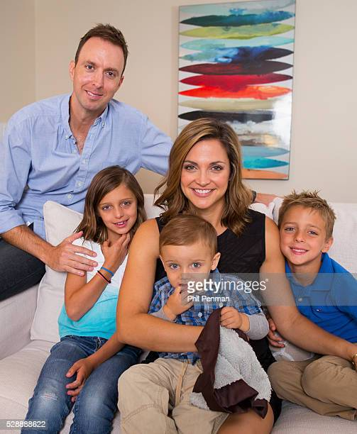 Paula Faris with husband John Krueger Caroline JJ and Landon at home in Larchmont New York