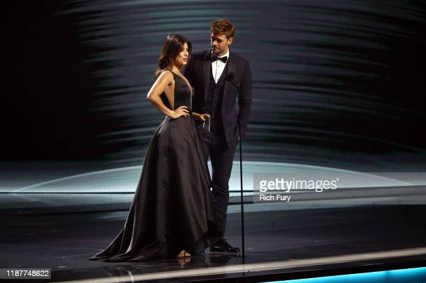 Paula Fernandez and Wlliam Levy present the Urban Album Award onstage during the 20th annual Latin GRAMMY Awards at MGM Grand Garden Arena on...