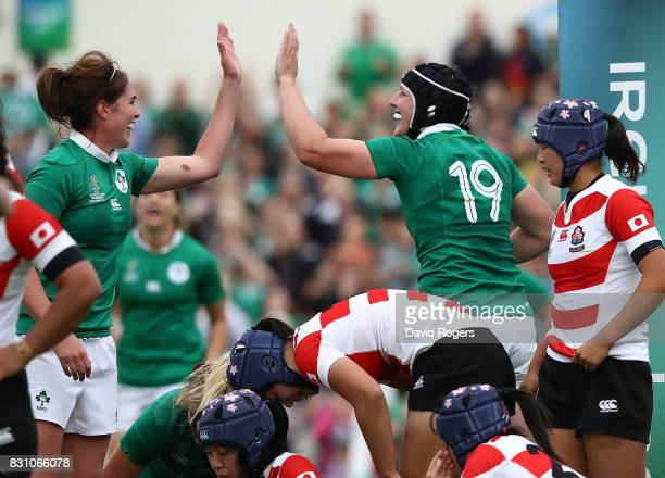 Paula Fitzpatrick of Ireland celebrates scoring a try during the Women's Rugby World Cup 2017 match between Ireland and Japan on August 13 2017 in...