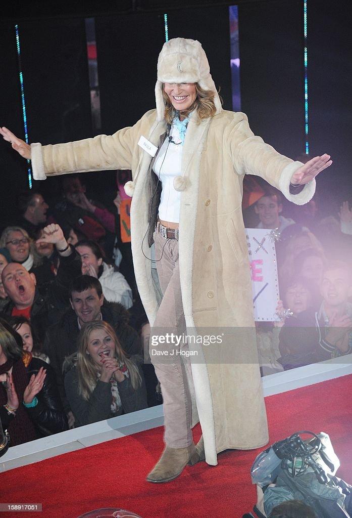 Paula Hamilton enters the Celebrity Big Brother House at Elstree Studios on January 3, 2013 in Borehamwood, England.