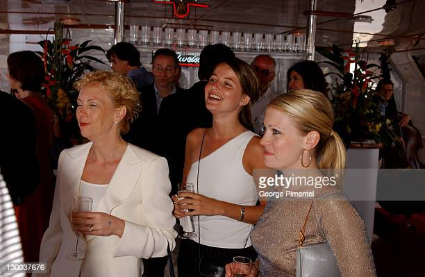 Paula Hart Nicole Mills Melissa Joan Hart during Cannes 2002 Anheuser Busch and Hollywood Reporter Dinner with Randy Newman in Cannes France