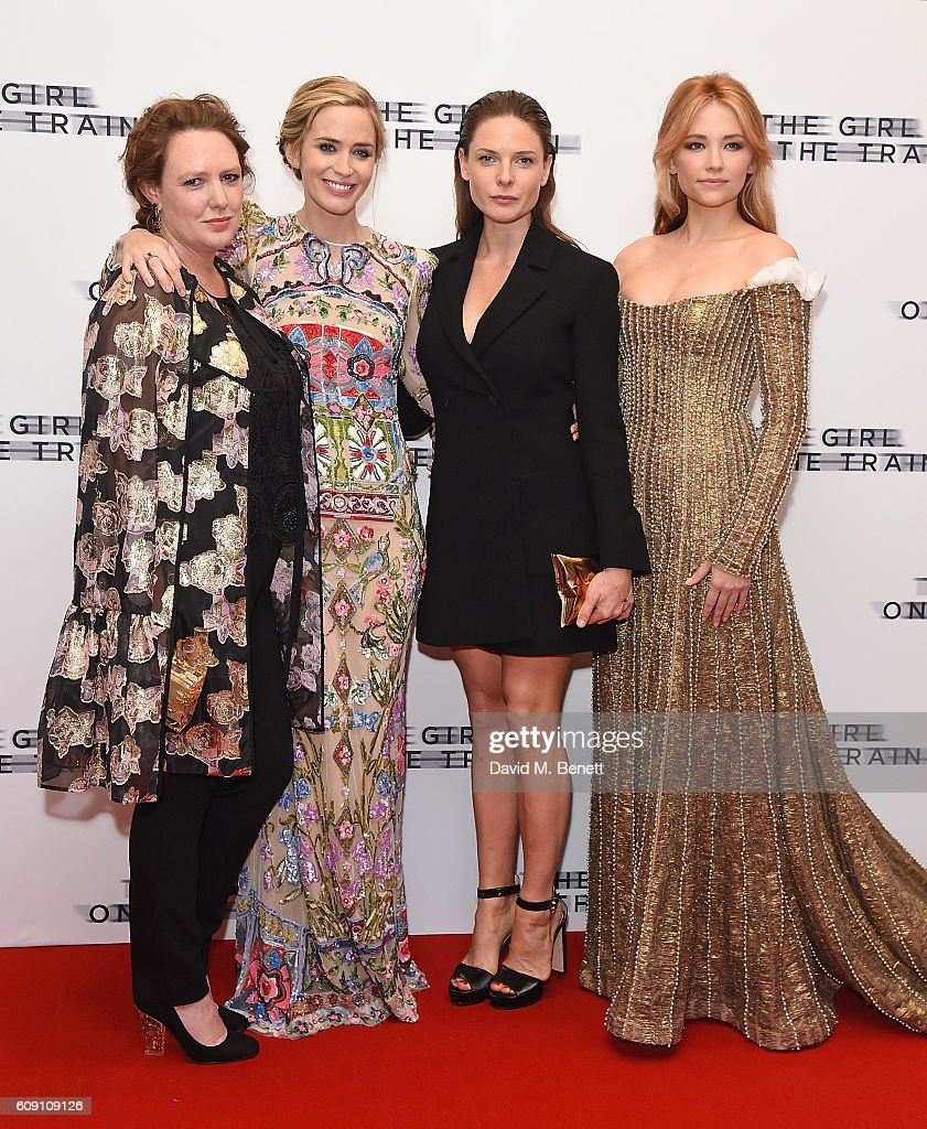 Paula Hawkins, Emily Blunt, Rebecca Ferguson and Haley Bennett attend the World Premiere of 'The Girl On The Train at Odeon Leicester Square on September 20, 2016 in London, England.
