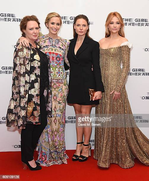 Paula Hawkins Emily Blunt Rebecca Ferguson and Haley Bennett attend the World Premiere of 'The Girl On The Train at Odeon Leicester Square on...