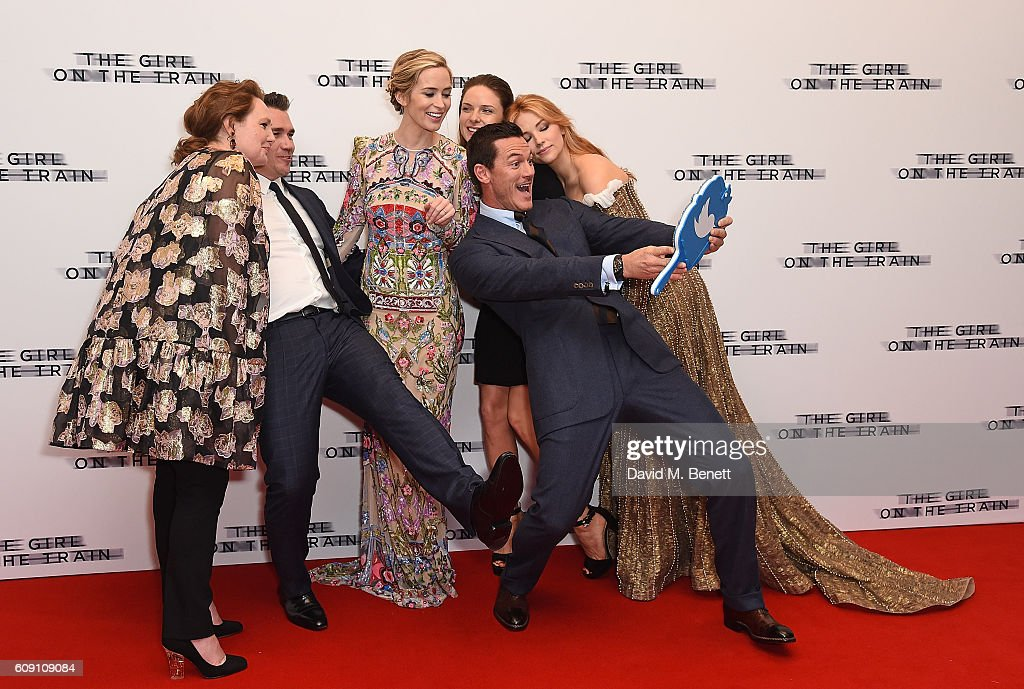 Paula Hawkins, Tate Taylor, Emily Blunt, Rebecca Ferguson, Luke Evans and Haley Bennett attend the World Premiere of 'The Girl On The Train at Odeon Leicester Square on September 20, 2016 in London, England.