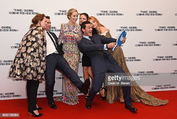 Paula Hawkins Tate Taylor Emily Blunt Rebecca Ferguson Luke Evans and Haley Bennett attend the World Premiere of 'The Girl On The Train at Odeon...
