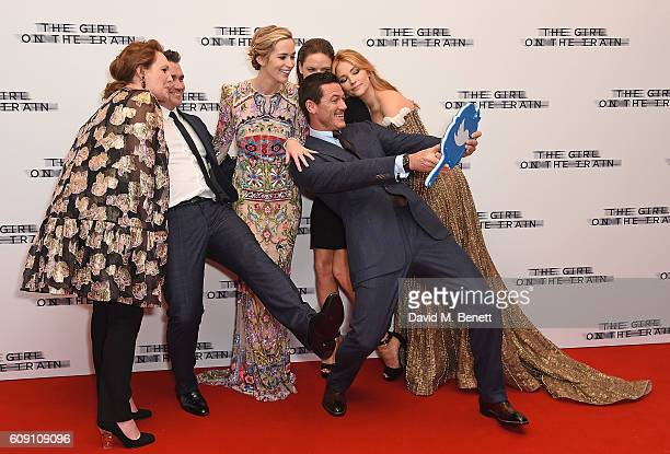 Paula Hawkins Tate Taylor Emily Blunt Rebecca Ferguson Luke Evans and Haley Bennett attend the World Premiere of The Girl On The Train at Odeon...