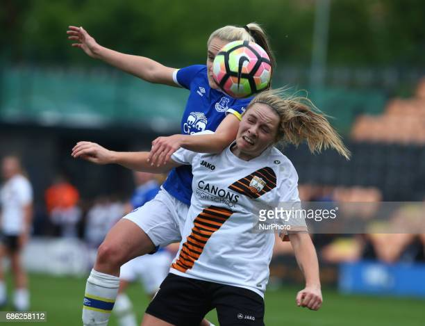 Paula Howells of London Bees holds of Faye Bryson of Everton Ladies during Women's Super League 2 Spring Series match between London Bees against...