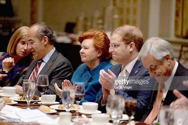 Paula J Dobriansky Felipe Calderon Vaira VikeFreiberga Nicholas Logothetis and Sebastian Pinera attend the 2014 Concordia Summit luncheon Day 2 at...