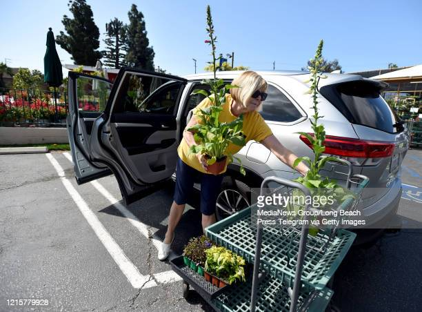 Paula Jameson picks up flowers from Armstrong Garden Center in Long Beach on Monday March 30 2020 The business is open for online or phone orders and...