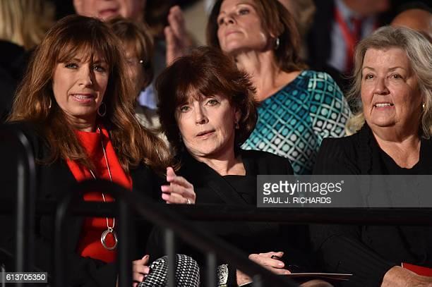 Paula Jones Kathleen Willey and Juanita Broaddrick are seated for the second presidential debate between Republican presidential nominee Donald Trump...