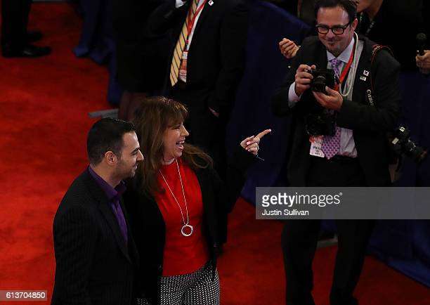 Paula Jones walks through the spin room following the second presidential debate with democratic presidential nominee former Secretary of State...