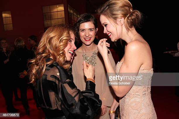 Paula Kalenberg Liv Lisa Fries Emilia Schuele during the Goldene Kamera 2015 reception on February 27 2015 in Hamburg Germany
