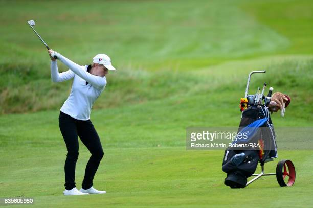 Paula Kimer of Germany hits an approach shot during her semifinal match during the Girls' British Open Amateur Championship at Enville Golf Club on...