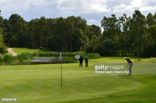 Paula Kimer of Germany putts on the 16th green during her semifinal match during the Girls' British Open Amateur Championship at Enville Golf Club on...