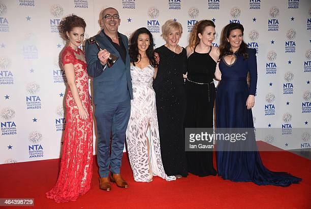 Paula Lane Stuart Blackburn Hayley Tamaddon Julie Hesmondhalgh Jennie McAlpine and Debbie Rush of Coronation Street pose with the Best Serial Drama...