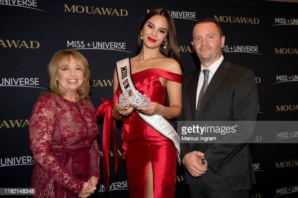 Paula M Sugart Miss Universe Catriona Gray and Pascal Mouawad unveil the new Miss Universe crown on December 5 2019 at Marriott Marquis in Atlanta GA...