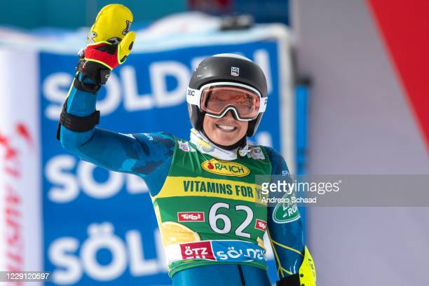 Paula Moltzan of the United States celebrates in the finish area during the Women's Giant Slalom of the Audi FIS Alpine Ski World Cup on October 17,...