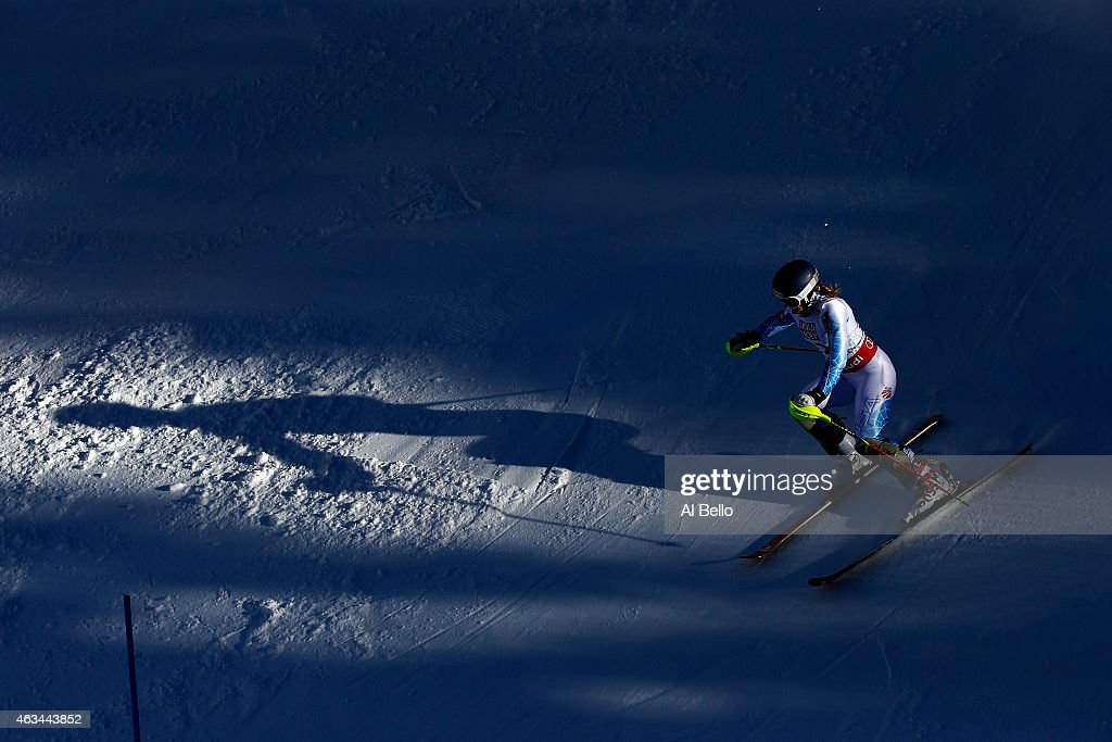 Paula Moltzan of the United States races during the Ladies' Slalom on the Golden Eagle racecourse on Day 13 of the 2015 FIS Alpine World Ski Championships on February 14, 2015 in Beaver Creek, Colorado.