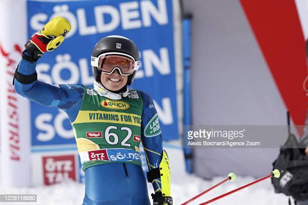 Paula Moltzan of USA celebrates during the Audi FIS Alpine Ski World Cup Women's Giant Slalom on October 17, 2020 in Soelden, Austria.