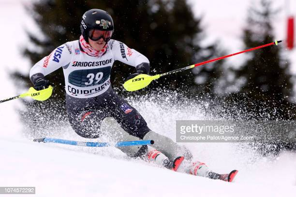 Paula Moltzan of USA in action during the Audi FIS Alpine Ski World Cup Women's Slalom on December 22 2018 in Courchevel France