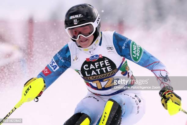 Paula Moltzan of USA in action during the Audi FIS Alpine Ski World Cup Women's Slalom on March 20, 2021 in Lenzerheide, Switzerland.