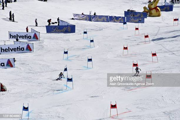 Paula Moltzan of USA in action, Kristin Lysdahl of Norway in action during the Audi FIS Alpine Ski World Cup Team Parallel Slalom on March 19, 2021...
