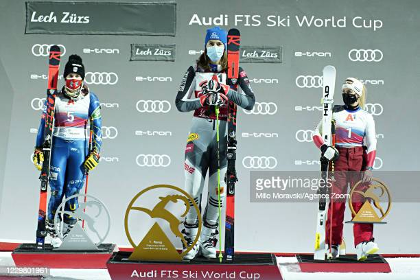 Paula Moltzan of USA takes 3rd place, Petra Vlhova of Slovakia takes 1st place, Lara Gut-behrami of Switzerland takes 2nd place during the Audi FIS...