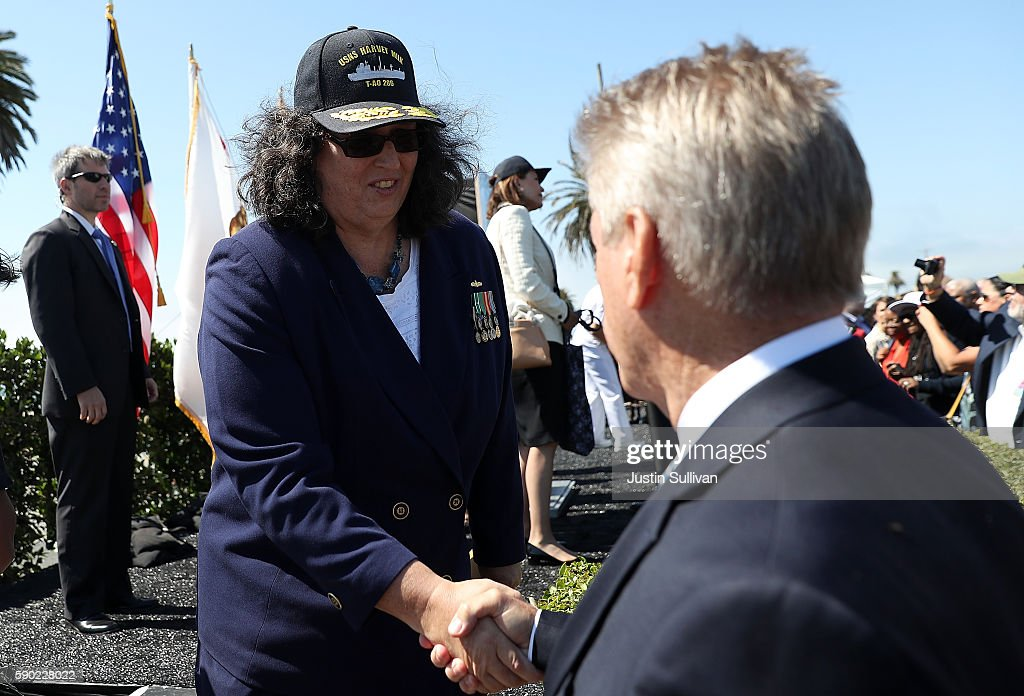 Paula Neira, co-sponsor of the new USNS Harvey Milk, greets an attendee during a ship naming ceremony on August 16, 2016 in San Francisco, California. U.S. Navy officials announced plans to name a new replenishment oiler ship after slain civil rights leader Harvey Milk. Six new ships in the class with be named after civil and human rights leaders.