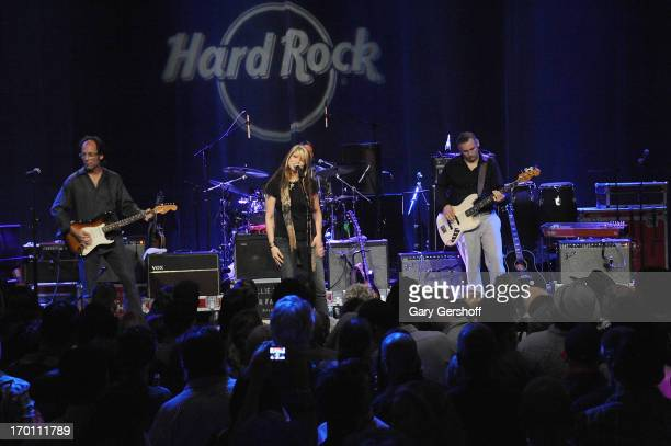 Paula Nelson and band perform on stage at the Hard Rock International's Wille Nelson Artist Spotlight Benefit Concer at Hard Rock Cafe Times Square...