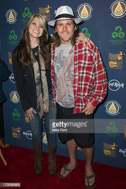 Paula Nelson and Lukas Nelson attend Hard Rock International's Wille Nelson Artist Spotlight Benefit Concert at Hard Rock Cafe Times Square on June 6...