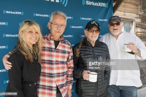 Paula Nelson Buddy Cannon Willie Nelson and Sirius XM's Dallas Wayne attend a discussion of Willie Nelson's new album 'Ride Me Back Home' during a...