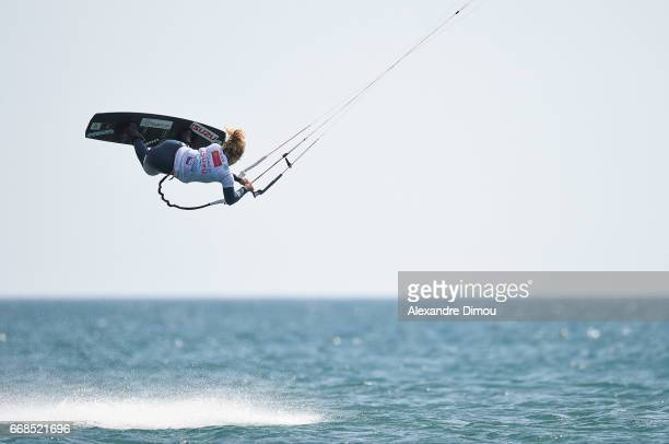 Paula Novotna of Czech Republic competes in the WKL Kiteboarding World Cup 2017 freestyle qualifiers on April 14 2017 in Leucate France