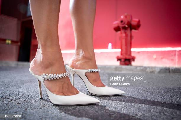 Paula Ordovas wears Ganni shirt Levis skirt Celine handbag Jimmy Choo shoes Mercedes Salazar earings and Gigi Barcelona sunglasses during Mercedes...