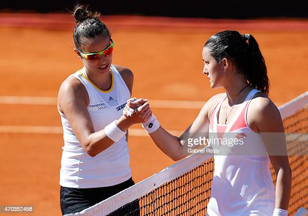 Paula Ormaechea of Argentina and Lara Arruabarrena of Spain greet after a round 3 match between Paula Ormaechea of Argentina and Lara Arruabarrena of...