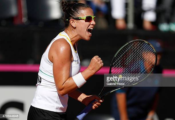 Paula Ormaechea of Argentina celebrates a point during a round 3 match between Paula Ormaechea of Argentina and Lara Arruabarrena of Spain as part of...