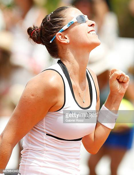 Paula Ormaechea of Argentina celebrates after winning during a singles match between Paula Ormaechea and Coco Wandeweghe as part of Fed Cup 2015 at...