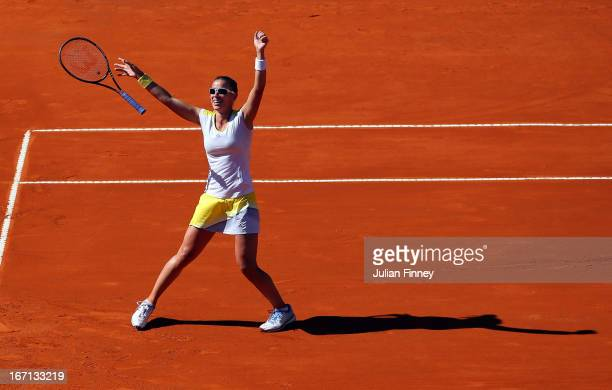 Paula Ormaechea of Argentina celebrates winning the match against Laura Robson of Great Britain during day two of the Fed Cup World Group Two...