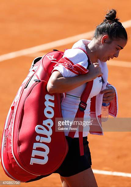 Paula Ormaechea of Argentina cries after losing the round 3 match between Paula Ormaechea of Argentina and Lara Arruabarrena of Spain as part of...