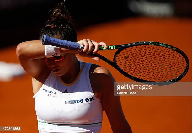 Paula Ormaechea of Argentina dries her face during a round 3 match between Paula Ormaechea of Argentina and Lara Arruabarrena of Spain as part of...